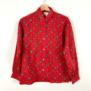 Vintage Lady Hathaway Red Floral Button Down Shirt